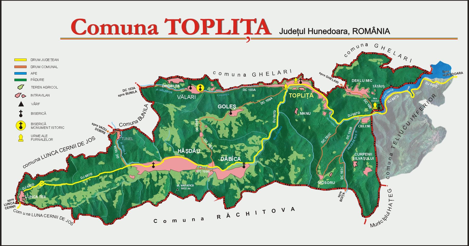 Harta comunei Toplița
